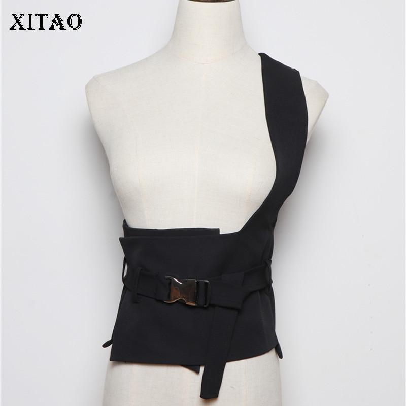 XITAO Black Strapless Cummerbunds 2019 Women A Versatile Design Irregular Small Fresh Minority Sheath Casual Cummerbunds XJ2395