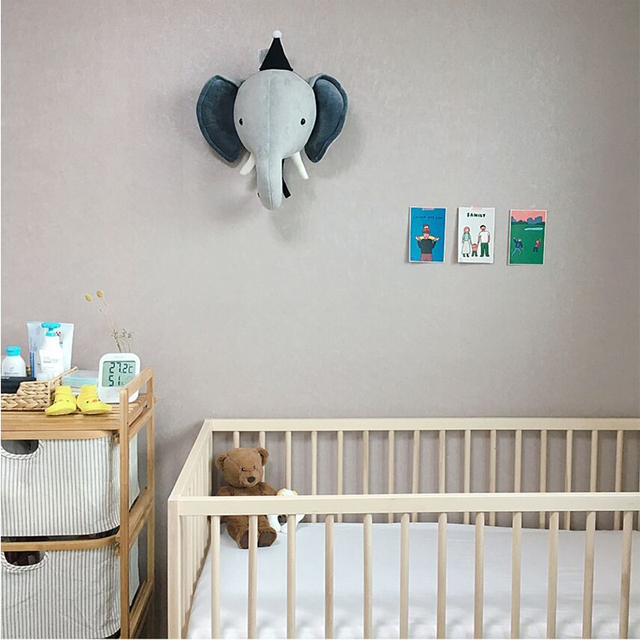 Kids Room Decoration 3D Animal Heads Elephant Deer Unicorn Head Wall Hanging Decor For Children Room Nursery Room Decoration