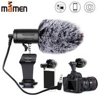 MAMEN, разъем 3,5 мм, микрофон для камеры, конденсаторный микрофон для записи, ультраширокий Аудио Студийный микрофон для Canon, sony, Nikon, DSLR, DV, Vlog