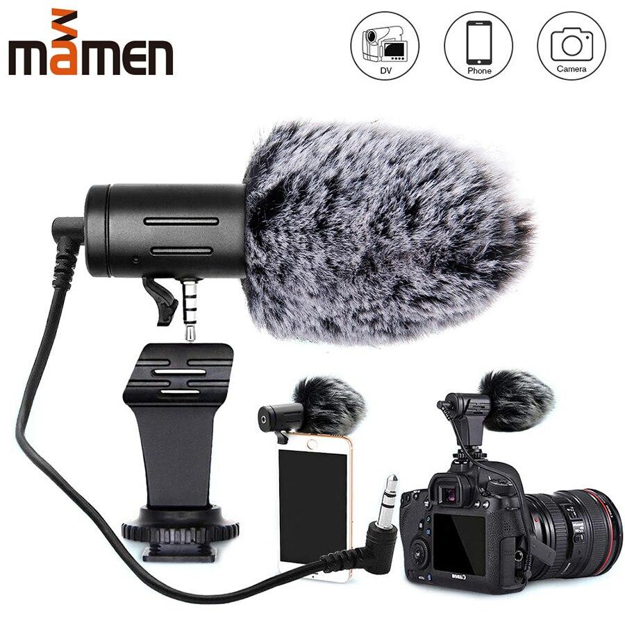 Mamen 3.5mm plug câmera microfone condensador de gravação de microfone ultra-ampla áudio studio mic para canon sony nikon dslr dv vlog