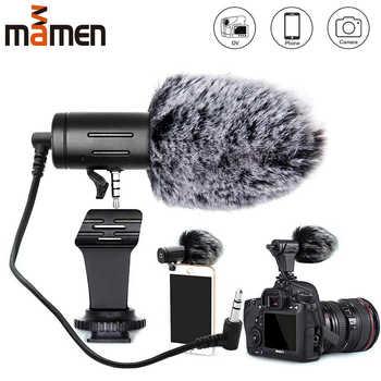 Mamen microfone para câmera com plugue de 3.5mm, condensador e gravador ultra-aberto para estúdio, para canon sony nikon dslr vlogs dv dv