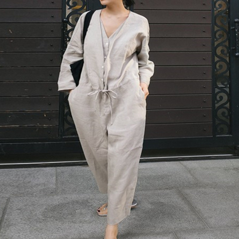 LANMREM Solid Color Double V-neck Drawstring Waist Cotton Linen Plus Woman Jumpsuit Personality Fashion 2020 Spring New TV153