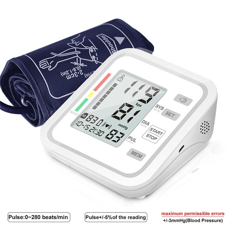 Kan basıncı monitörü tansiyon aleti nabız darbe ölçer ölçüm tonometre PR üst kol darbe ev ölçer ekipmanı