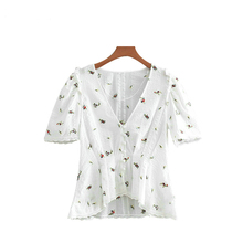 fashion women flower embroidery blouse cotton short sleeve summer beach white shirt brand clothing CE13