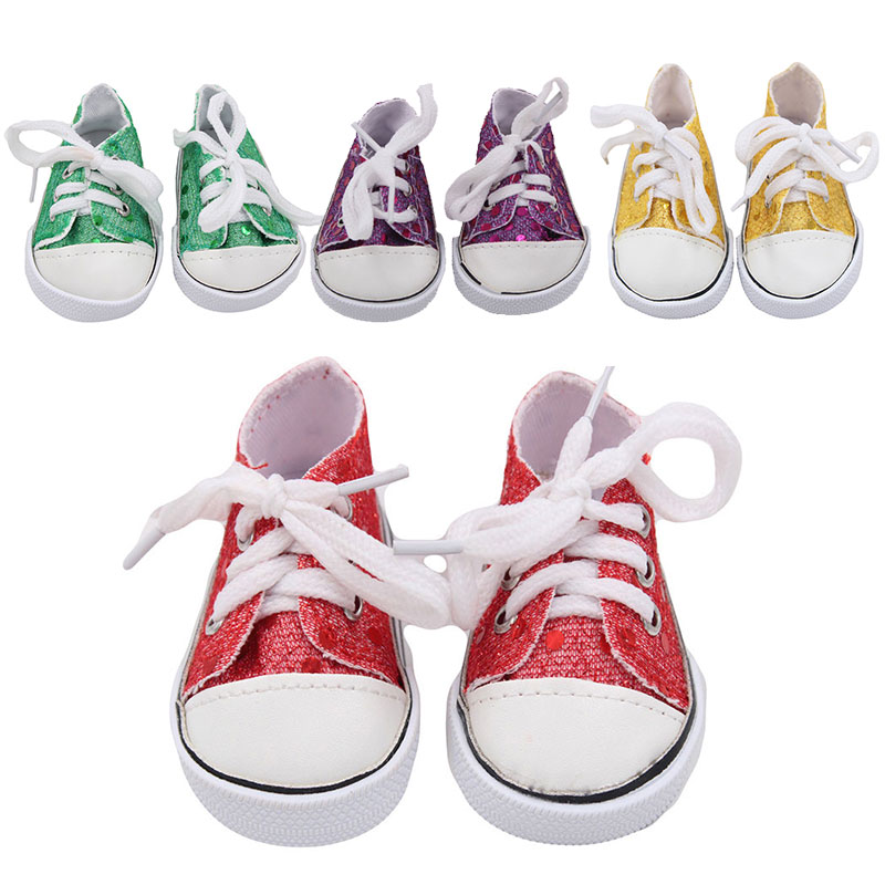 Fashion Sequin American Dolls Shoes Fits 18 Inch Baby Doll Canva Shoes For Generation Girls Boots Toy Doll Accessories Best Gift