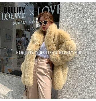 Abrigos de piel de zorro de talla grande con rayas naturales y cuello grande a la moda con diseño italiano famoso