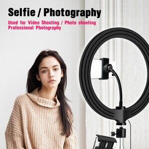 Image 3 - 26cm/10inch inch LED Ring Light 10 Levels 3200 5600K +Tripods Phone Tablet Holders for Live Makeup YouTube Video Lighting