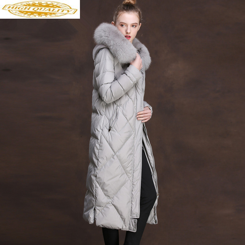 Fox Fur Collar Down Jacket Woman Hooded Winter Jacket Women Long Coat Female Korean Pink Jackets Chaqueta Mujer MY3859