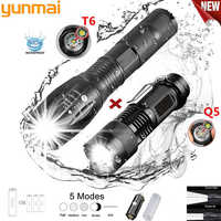 Accept Dropshipping Promotion Portable Led Tactical Q5 1800lm Led Flashlight T6 Zoomable Lante Led Torch Ultra Bright Light Gift