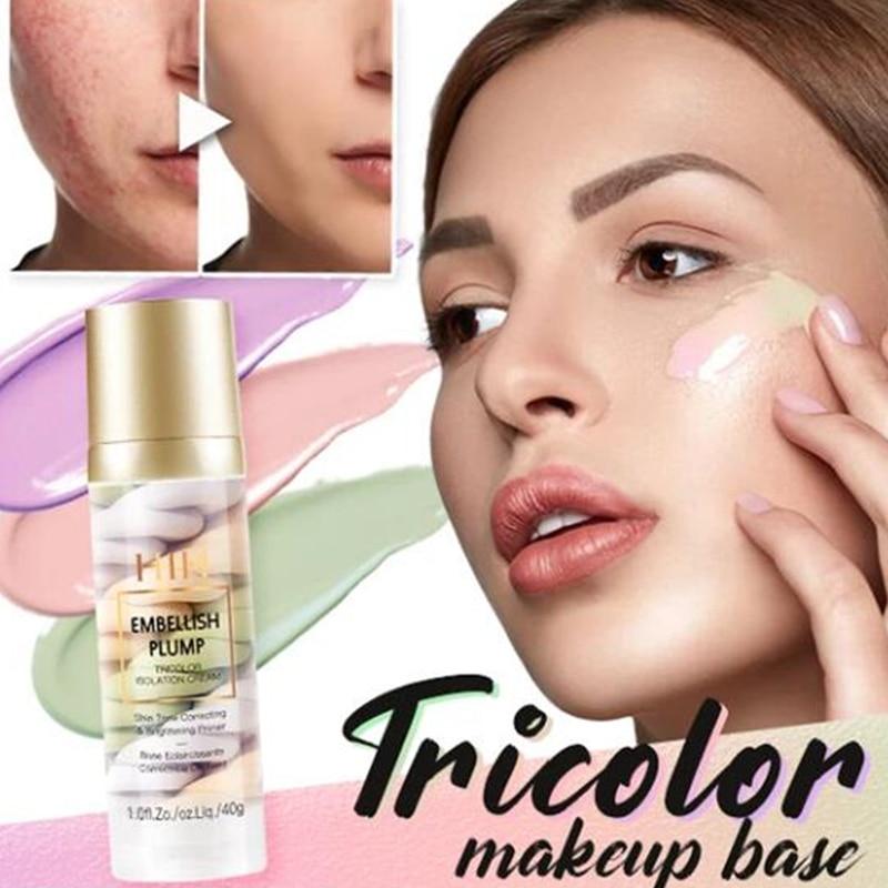 Discount¢Concealer-Cream Makeup-Base Isolation-Makeup Rainbow-Tricolor Face Pore Brighten Invisible