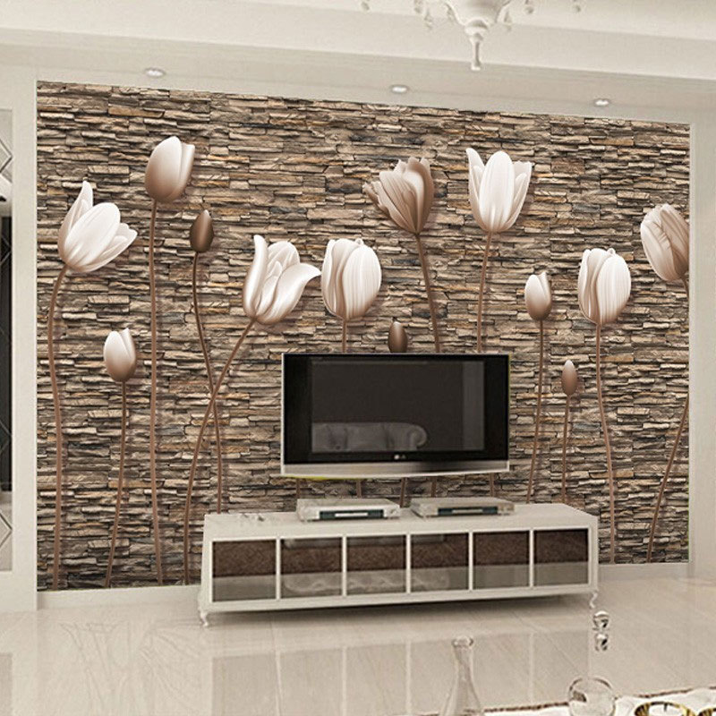 Northern European-Style TV Backdrop Wallpaper Living Room Bedroom 3d5d Stereo Tulip Mural Retro Wallpaper Seamless Wall