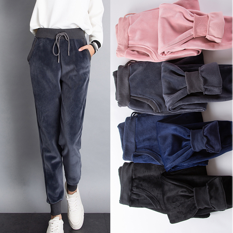 Pants Women Winter 2019 Large Size Warm Plus Velvet Solid Leisure Sports Womens Harem Pant Korean Style Drawstring Females Chic