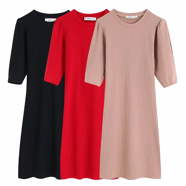Femmes élégant tricoté mini robe O cou demi manches extensible mince coupe femme rouge noir rose basique confortable robes