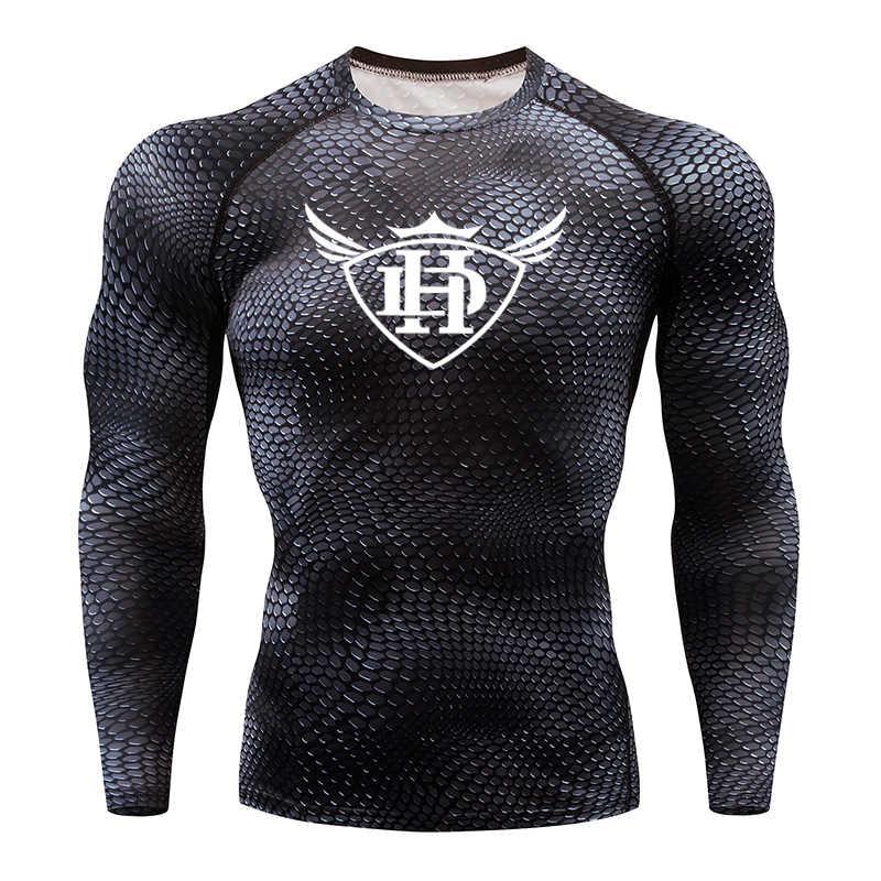 2019 Baru Pakaian Olahraga Pria Otot Lengan Panjang Lengan T-shirt Kompresi Ketat T-Shirt MMA K Berlaku Kebugaran T-Shirt
