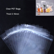 10-50Pcs/lots Thick 0.16mm High Clear PET Zip Lock Bags Food Self Sealing Package For Sugar Candy Coffee Dried Fruits Flower