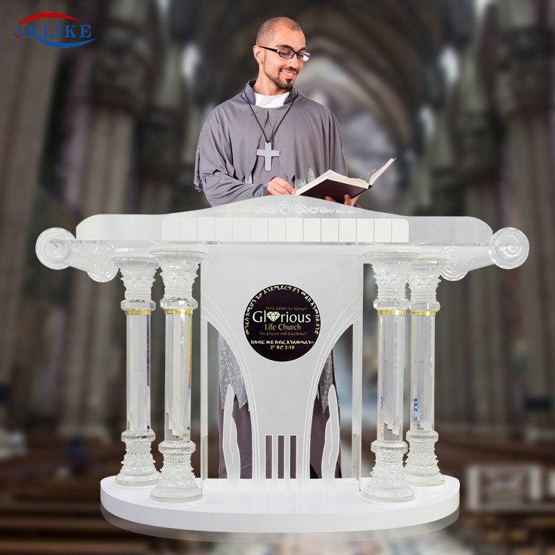 Customized Logo Crystal Column Pulpit AKLIKE Aceylic Podium For Church For School For Speech -Pulpit Glass  Foyer Furniture