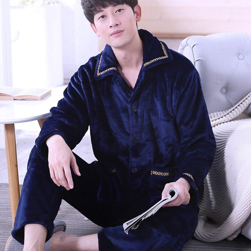 Pajamas Men H5750 Suit Sleepwear Flannel Male Winter Causal Autumn Cute Coral-Fleece