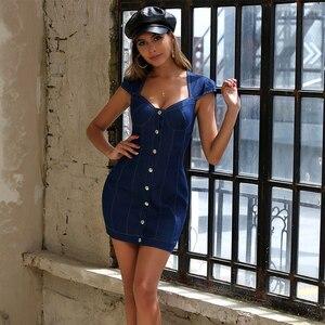 Image 5 - JYSS elegante sexy blau denim sommer kleid sleeveless v ausschnitt kragen mini mantel kleider frau party nacht 20003