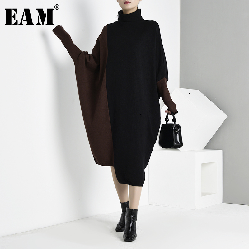 [EAM] Contrast Color Oversized Knitting Sweater Loose Fit High Collar Long Sleeve Women New Fashion Spring Autumn 2020 JI9520