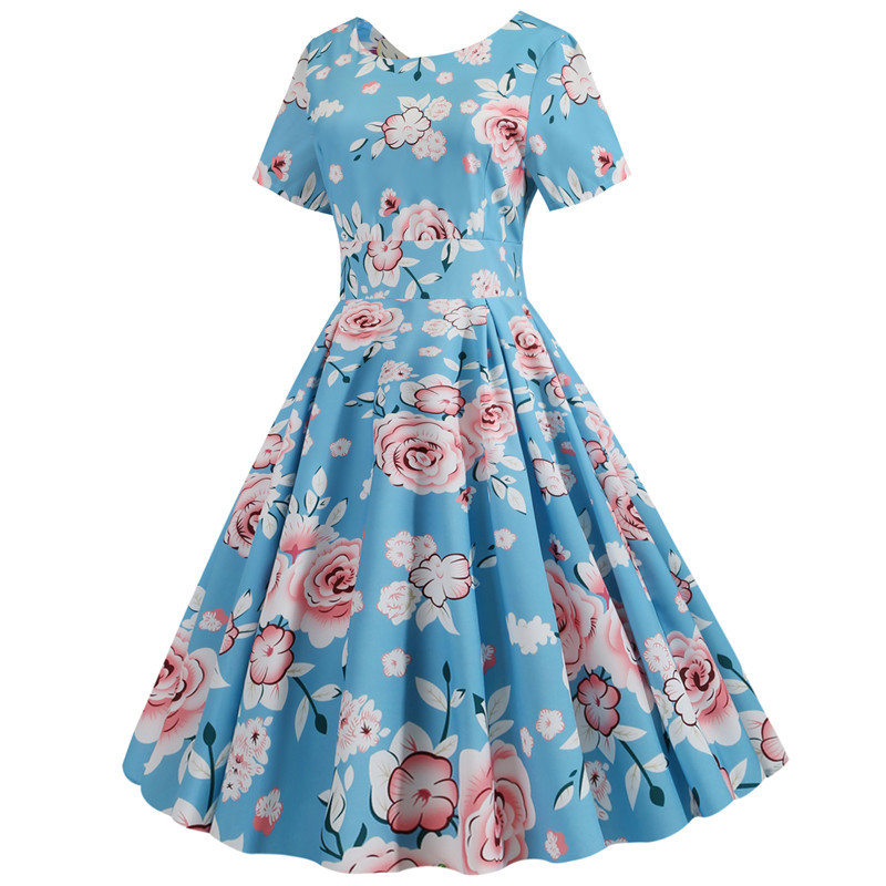Summer Floral Print Elegant A-line Party Dress Women Slim White Short Sleeve Swing Pin up Vintage Dresses Plus Size Robe Femme 248