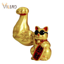 VILEAD Creative Muscle Arm Lucky Cat Figurines Home Decoration Accessories Interior Feng Shui Animal Crafts Office Room Shop
