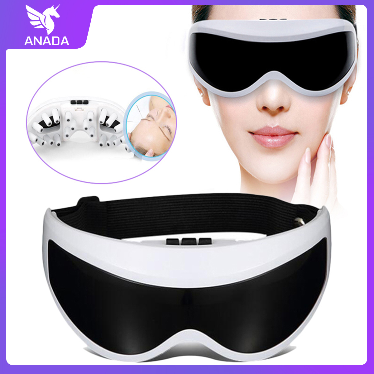 Anada Electric Eye Care Massager Magnet Therapy Relax Vibration Anti Wrinkles Alleviate Acupres Protect  Eyes Magnet Eyewear