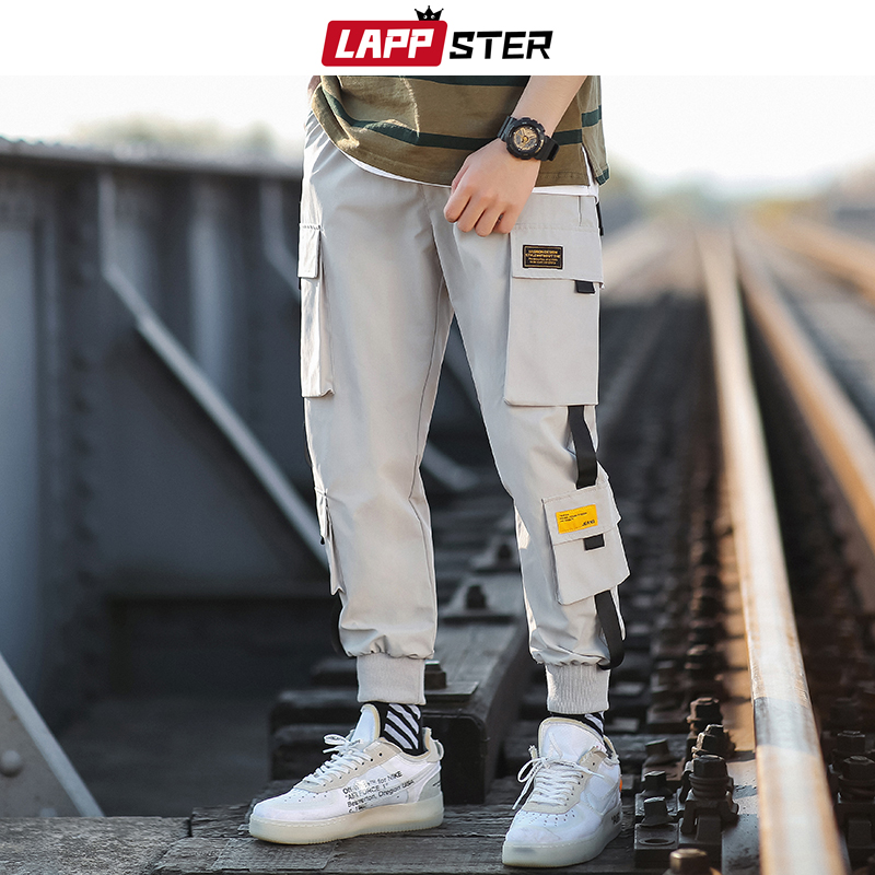 LAPPSTER Men Ribbons Streetwear Sweatpants 2020 Mens Military Hip Hop Cargo Pants Male Japanese Fashions Joggers Pants Toursers