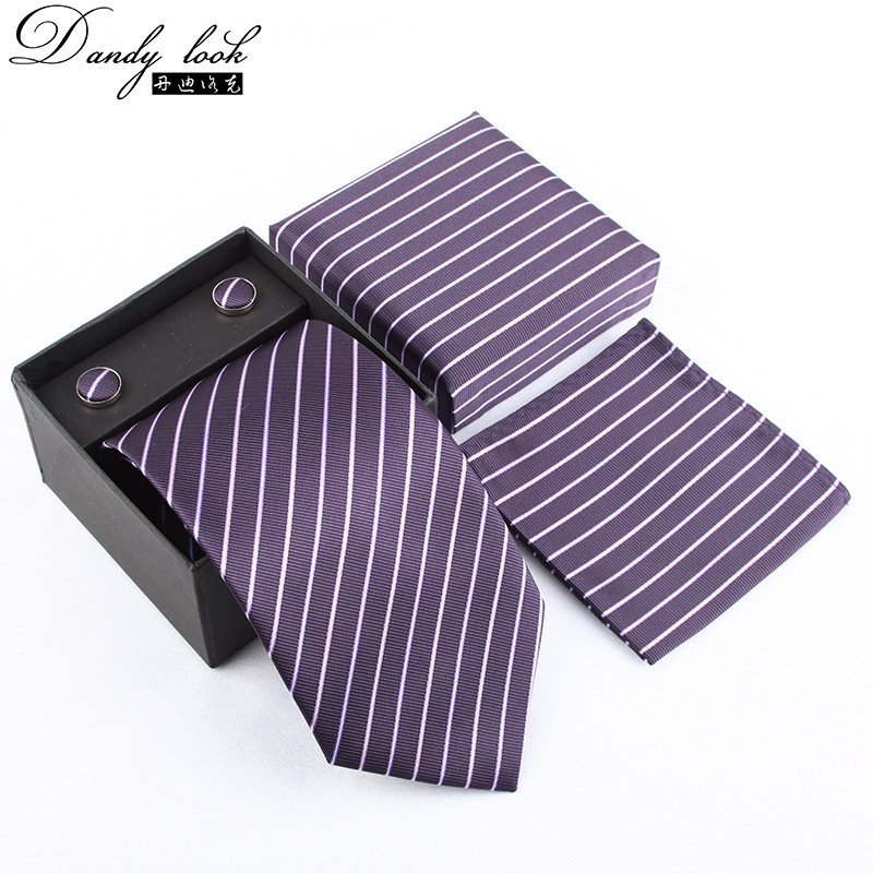 Paisley Jacquard Business Men Tie Set MEN'S Tie Pocket Square Cufflinks Gift Box