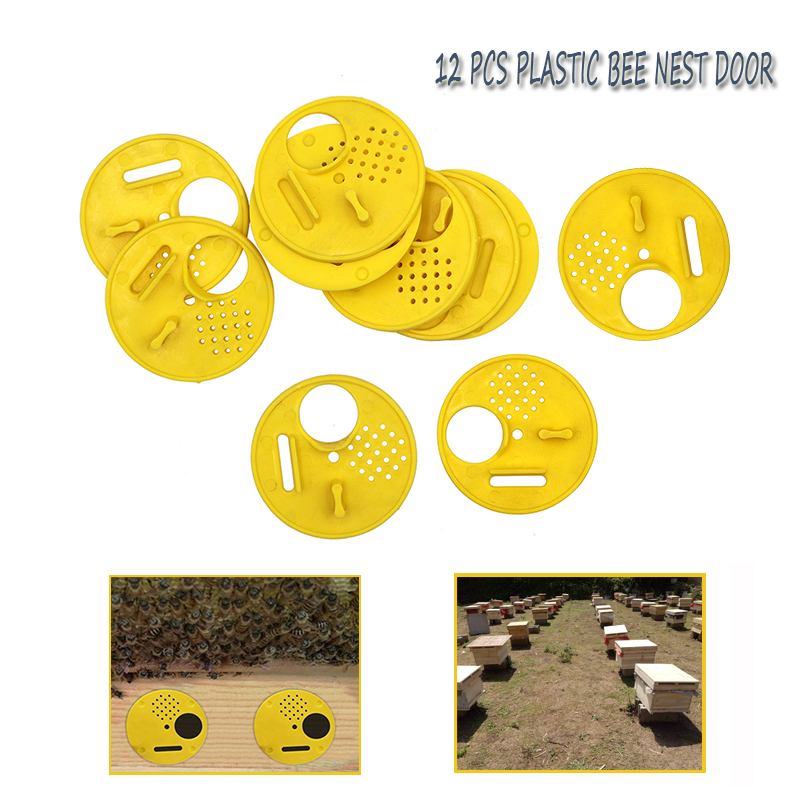 12PCs Plastic Round Bee Hive Box Entrance Gate Disc Bee Nest Door Honeycomb Entrance Gate Beekeeping Tool Equipment