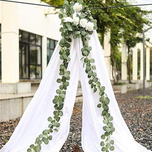 2m Artificial Eucalyptus Leaves Vine Fake Greenery Garland For Wedding Party Home Decor Indoor Plants Hanging Artificial Plants(China)
