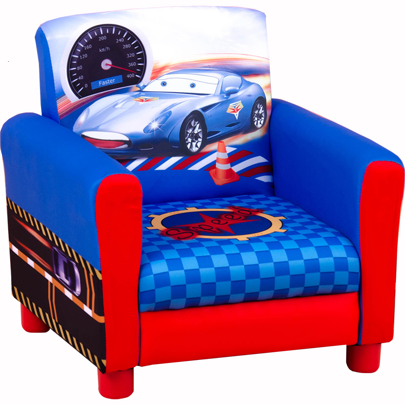 Single Person Cartoon Automobile Paragraph Small Sofa Chair Kids Sofa Originality Mini Lovely Baby Room Cloth Art Sofa Blue
