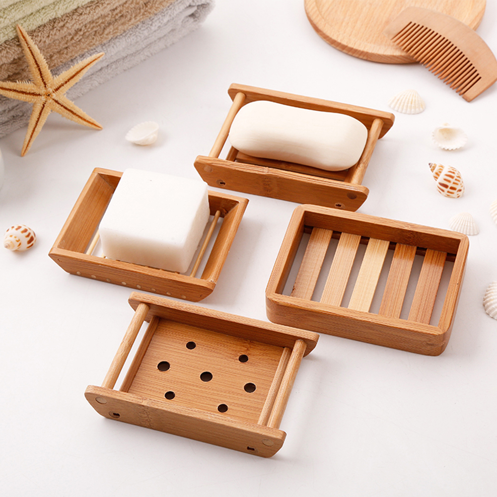 1Pc Natural Wooden Bamboo Soap Dish Tray Holder Soap Rack Plate Box Container