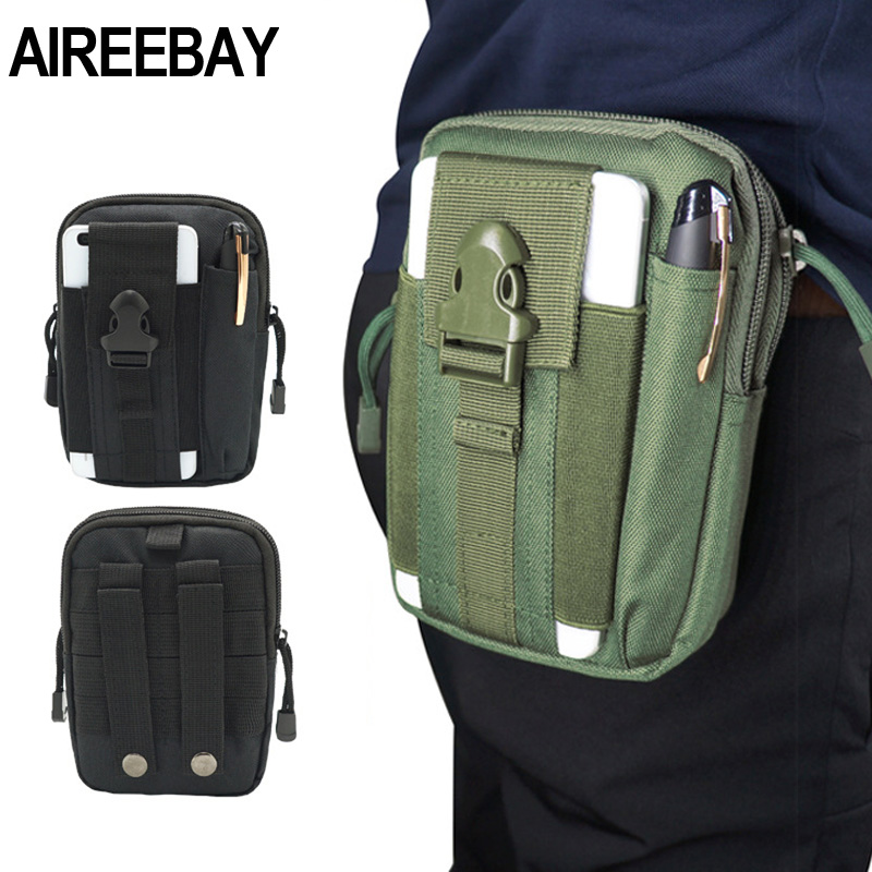 AIREEBAY Men Belt Bag Canvas Fanny Pack Tactical Leg Bags Military Waist Packs Cellphone Pouch Money Belts Outdoor Wear Bags