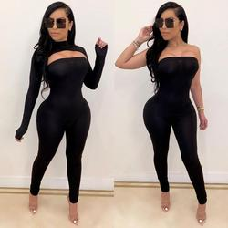 Casual Knit Ribbed  Two Piece Set Jumpsuit +Crop Top Skinny Fitness Long Sleeve Solid Color Sportwear Summer Clothes For Women