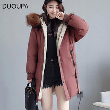 2019 Autumn and Winter  Women's Cotton Clothing in the Long Section of Fashion Down Jacket Casual Thickening Bread Jacket Cotton