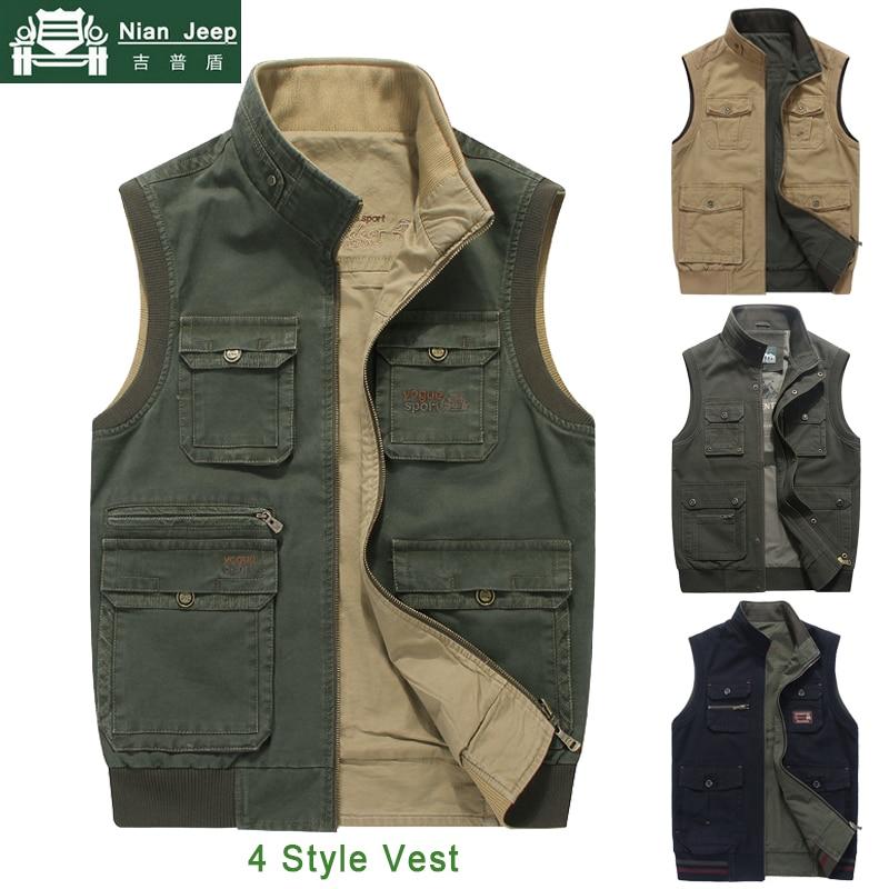 Brand Outwear Vest Men Multi Pocket Sleeveless Jacket Men Plus Size 7XL 8XL Photographer Waistcoat Male Double-sided Vest Homme