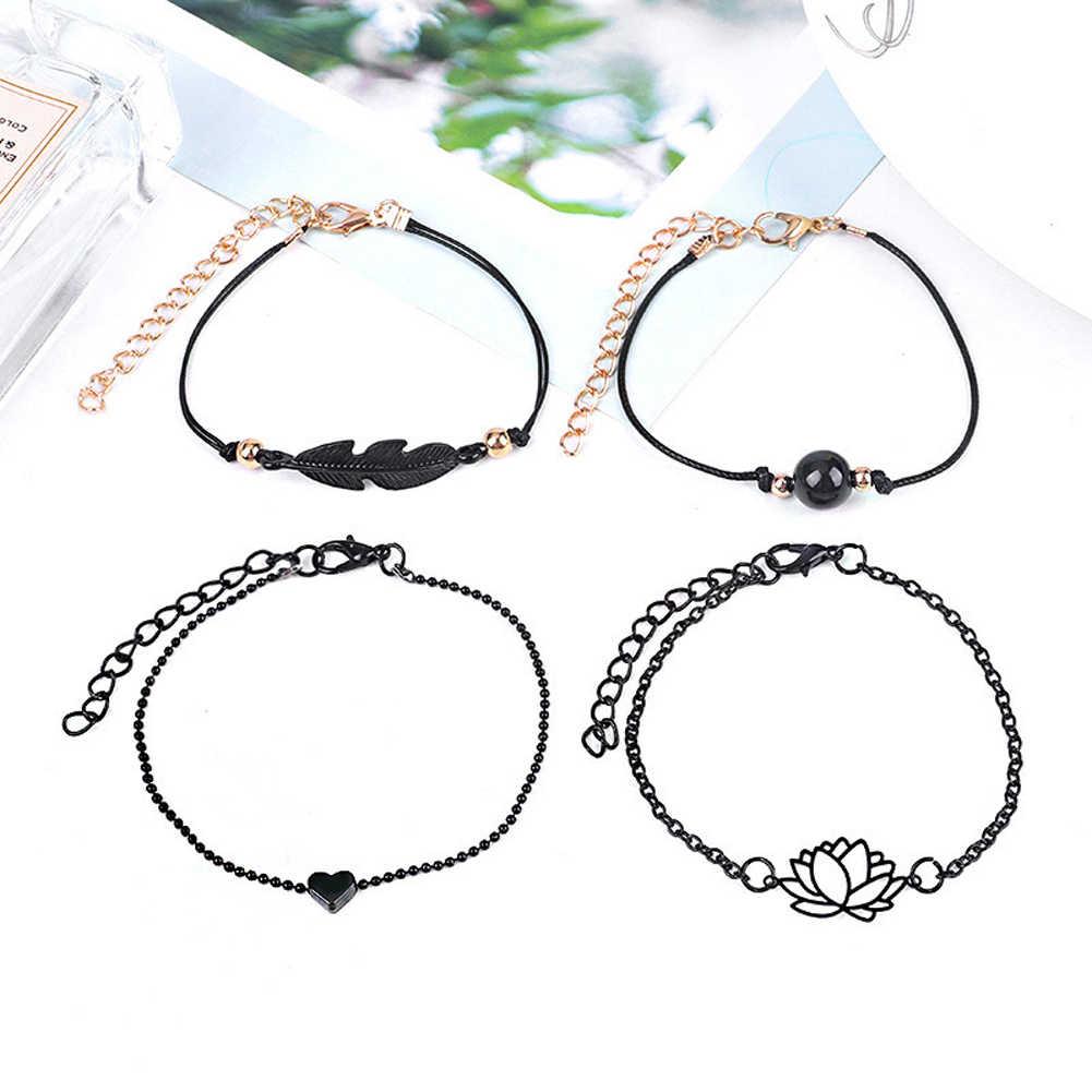 4PCs גותי שחור נוצת לוטוס צמידי סט לב קסם Boho צמידים לנשים יד שרשרת צמידי תכשיטים