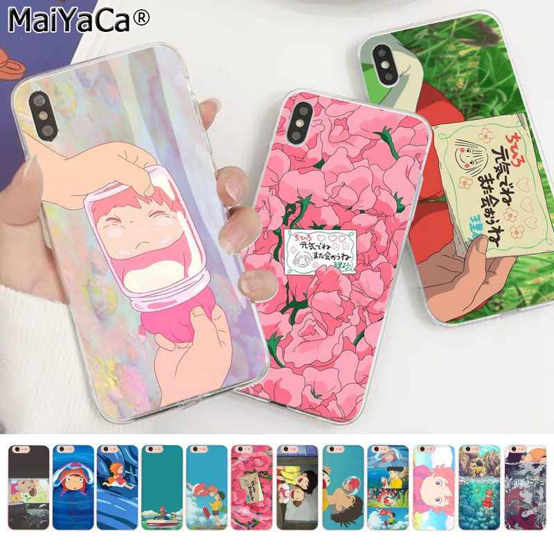 Maiyaca Kartun Ponyo Di Tebing Novelty Fundas Phone Case Cover untuk Apple Iphone 11 Pro 8 7 66S PLUS X XS Max 5S SE XR Cover