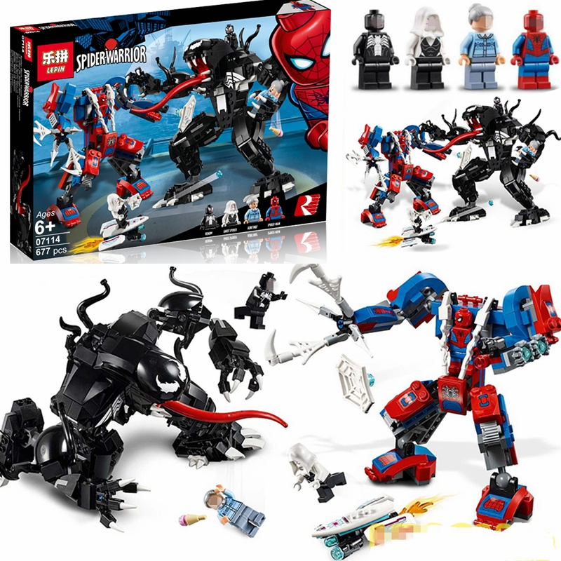 SuperHeroes Spider-Man Mech Vs. Venom Mech Building Blocks Model Toys Compatible 76115 Superhero Spiderman Bricks For Boy Gift