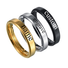 Personalized Rings Stainless Steel Customized Engraved With Your Name Texts Signature Anniversary Jewelry Drop Shipping(China)