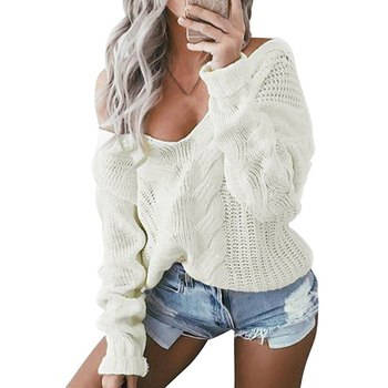 2020 Hot Sale Winter Sexy Deep V-Neck Knitted Sweaters Women Long Sleeve Off Shoulder Sweaters Femme