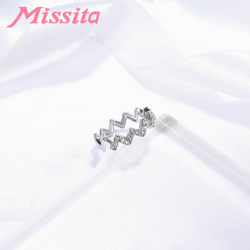 MISSITA 100 925 Sterling Silver Chic Wave Crystal Rings For Women Girls Gift Brand Jewelry Anniversary anillos mujer in Rings from Jewelry Accessories