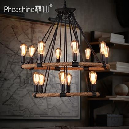 Industrial Antique Restaurant Bar Engineering Lighting American Bar Villa Double 14 Hemp Rope Chandelier Lamps