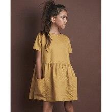 2020 moda pamuk keten kız çocuk yaz elbisesi rahat kısa kollu kız tatil elbisesi cepler ile TZ20