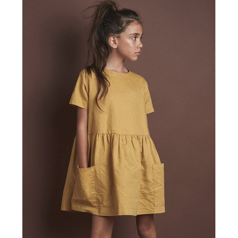 2021 Fashion Cotton Linen Summer Girl Dress Yellow Casual Short Sleeve Kids Holiday Dress With Pockets TZ20