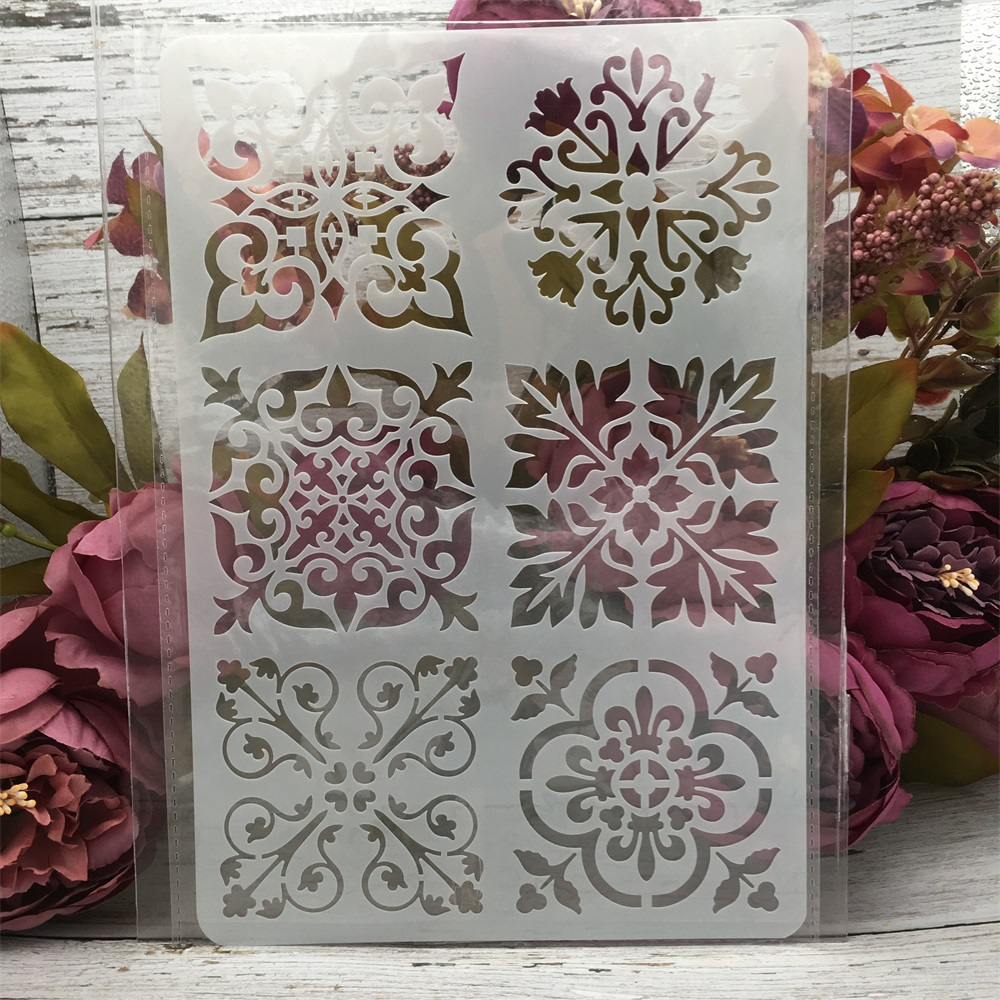 1Pcs 26*17cm Flower Square Frame DIY Layering Stencils Wall Painting Scrapbook Coloring Embossing Album Decorative Card Template