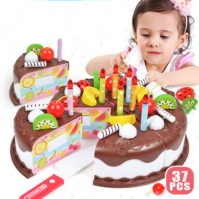 37Pcs DIY Chocolates Cake Pretend Play Kitchen Toys Fruit Birthday Cake Cutting Toys Kitchen Food Toys For Girls