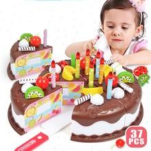 37Pcs DIY Chocolates Cake Pretend Play Kitchen Toys Fruit Birthday Cake Cutting Toys Kitchen Food Toys For Girls