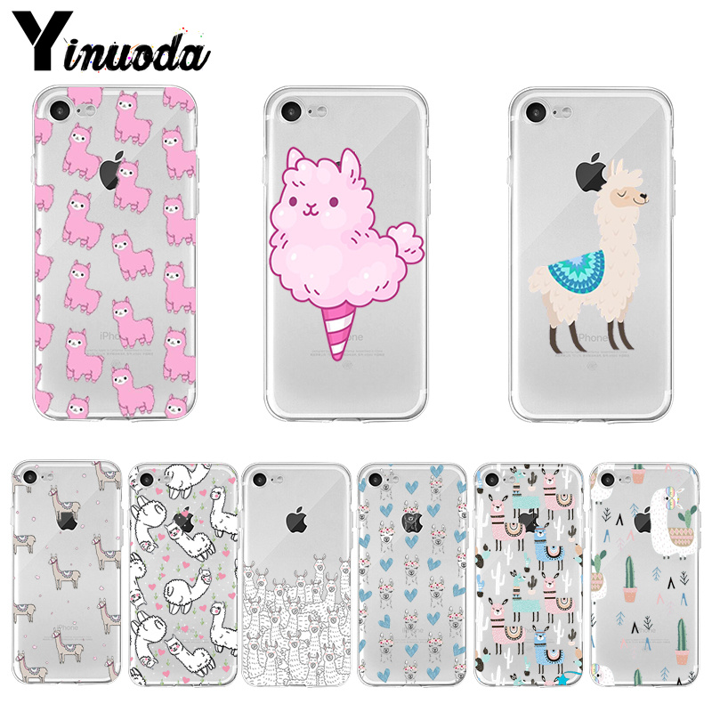 Yinuoda <font><b>Kawaii</b></font> Cute Llama Alpaca Animals Cartoon <font><b>Phone</b></font> Accessories <font><b>Case</b></font> for <font><b>iPhone</b></font> 8 <font><b>7</b></font> 6 6S Plus X XS MAX 5 5S SE XR 11 pro max image