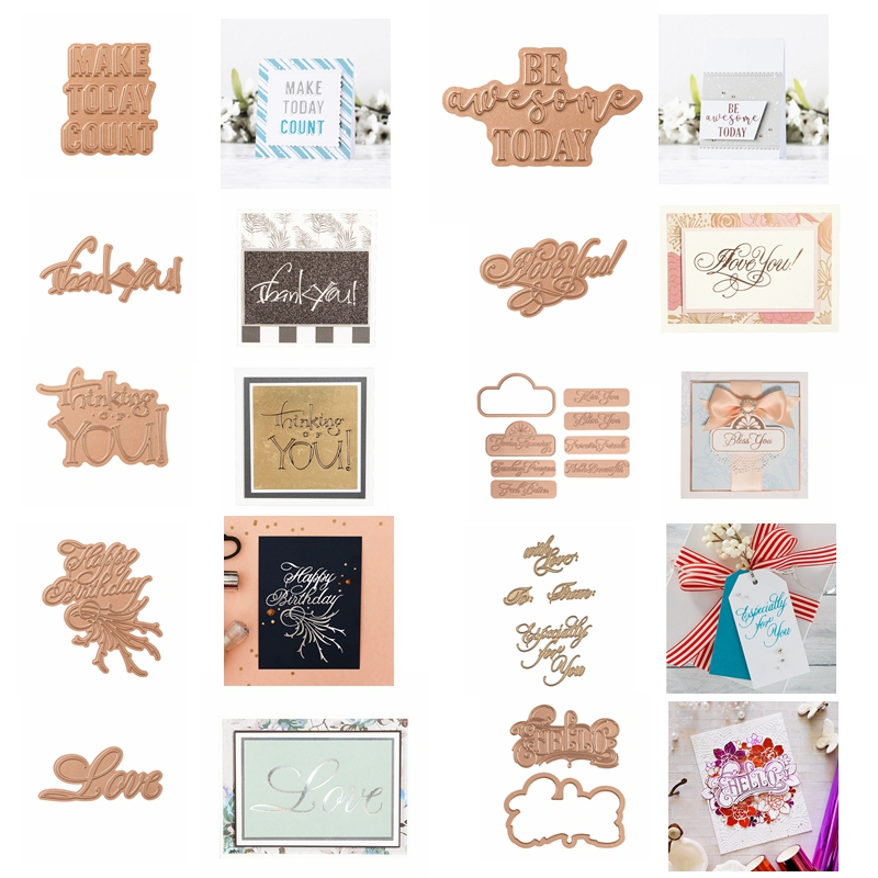 Hot Foil Plate Glimmer Greetings Blessings Phrases Words With LOVE For DIY Scrapbooking  New 2019 Embossing Paper Cards Crafts